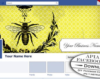 Facebook Timeline Cover Image - Customizable Premade Apiary Vintage Bee Honey Design- DIY Online Editor