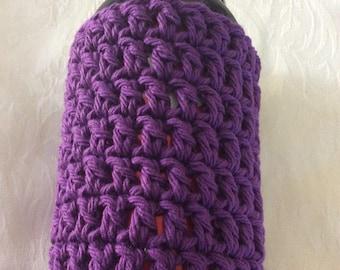 Can Cozy, Crochet Can Cozy, Purple Can Cozy, Soda Cozy, Beer Cozy, Water Bottle Cozy, Handmade Crochet Item