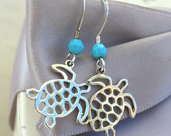Sterling Sea Turtle Earrings with or without crystal accents
