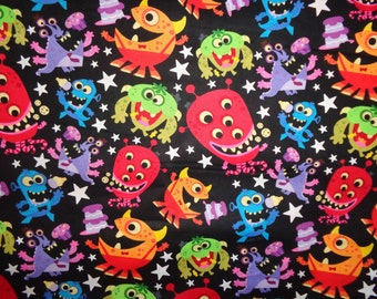 Multicolor Monster Party Toss  Cotton Fabric by the Yard