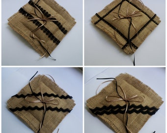 Ebony & ivory burlap ring bearer pillow, hessian ring cushion, black lace and beige satin ribbons, southwestern wedding
