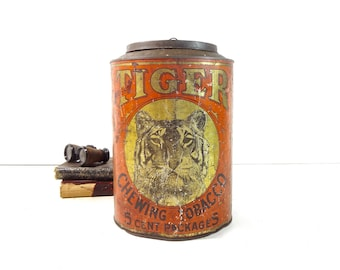 Vintage Tobacco Tin / Rare Large Tiger Chewing Tobacco Advertising Store Countertop Display Canister Bin
