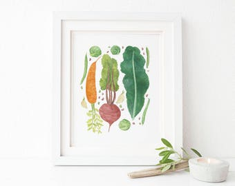 Vegetables Art Print / Watercolor / Art Print / Farmhouse Gifts / Farmhouse Decor / Modern Rustic Decor / Gifts for Her / Gifts for Farmers