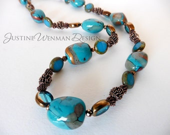 Turquoise and Copper Coil Necklace, Faux Turquoise Beads in Lightweight Polymer Clay, Beads of Glass and Stone, Copper Coils