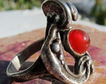 Abstract Modernist Sterling Silver Genuine Stone Cabochon Ring Handmade Size 7.25