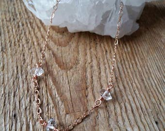 Rose gold and herkimer diamond trio choker