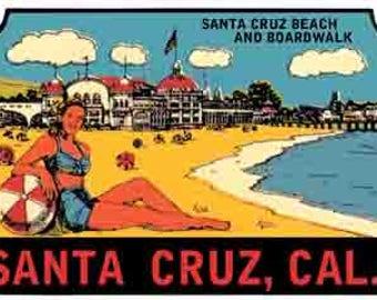 Vintage Style Santa Cruz Beach boardwalk California   Hot Rod   pin-up girls Surfing  1960's   Travel Decal bumper sticker surf surfboard