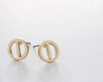 Circle with Bar Earring Studs Gold Plated Finding