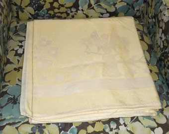 """Damask Christmas Tablecloth ,58"""" by 50"""", Angle with Bells ,Pastel  Yellow ,Vintage 50s , No holes no stains"""