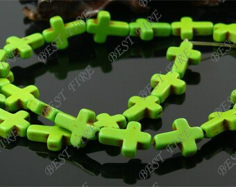 12x16mm Dyed Green Cross Turquoise beads Loose Strand,Gemstone beads,Loose beads full strands 15.5 inch