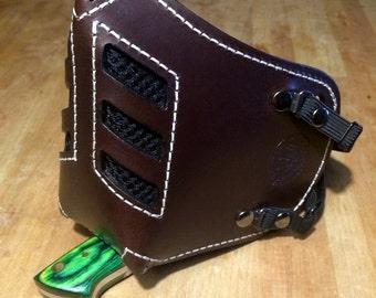 "Leather MasK ""killer bug"" [Legend motorcycle 3] by SanDiegoChopper (Brown stitching leather Beige) biker / caferacer / bratstyle / chopper"