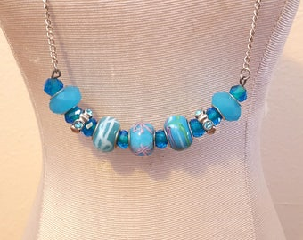 Beaded Bar Necklace Turquoise Glass Beads Free US Shipping Simple Minimalist
