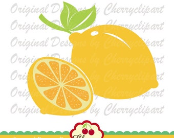 Lemon and lemon slice SVG Dxf, Summer fruits svg Silhouette & Cricut Cut Files BIR04 -Personal and Commercial Use