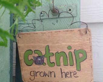 Catnip Garden Sign, Cat Lover Door Hanger Sign