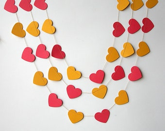 Hot pink and yellow heart garland, Heart garland, Valentines decor, Nursery decor, Valentines Bunting, Valentines Photo Prop, KCO-3025