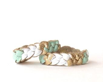 Mother Daughter Bracelet Set, Essential Oil Diffuser Bracelets, Stackable Bracelets, Braided Leather Bracelet Set, Mothers Day Gift Idea