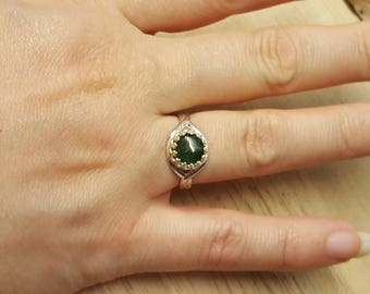 Green Tourmaline ring. 925 sterling silver. October birthstone ring. Crystal Reiki jewelry. Adjustable ring. 8mm stone