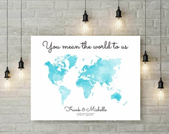 Guest Book Watercolor World Map | Wedding Decor | Personalized Guest Book Map | Canvas Wall Art | Map Art | Travel Map | Canvas Art - 46577