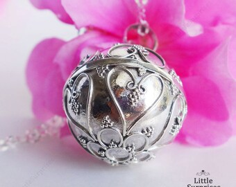 Large 20mm Filigree Hearts Harmony Ball Mexican Bola Pregnancy Necklace Gift LS78