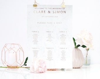 Wedding Table Plan, Wedding Seating Plan, Gold and Marble seating plan, gold foil seating plan, luxury wedding table plan, seating chart