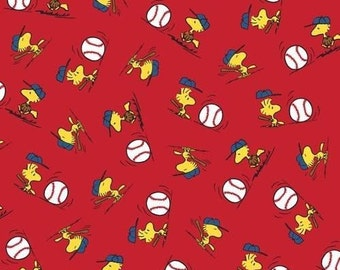 """Snoopy Fabric - Snoopy Peanuts All Star Baseball Tossed Woodstock Fabric 100% cotton 44"""" fabric by the yard (QT362)"""