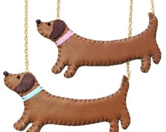 Leather Sausage Dog Dachshund Necklace
