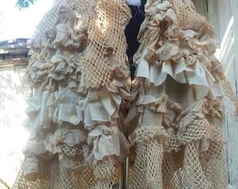 Skirt, bustle skirt,capelet,victorian ,steampunk, victorian,tea stayned, mori girl,marie antoinette,jane austen,layer and frills,lace ruffle