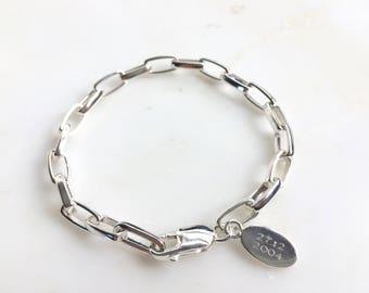 Personalised Silver Bracelet - Men's Silver Bracelet - Men's Bracelet - Men's gift