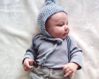 Baby bonnet, pom pom bonnet, crochet bonnet