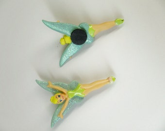 OOAK resin Disney Tinkerbell magnet, Peter Pan fairy, glittery wings!