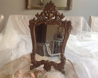 Gorgeous vintage gold metal boudoir romantic dresser vanity mirror
