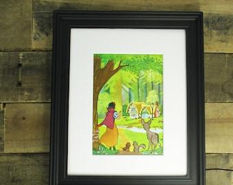 Vintage Snow White 8 x 10 Print. Perfect 1960's / Vintage Book Artwork for Decor for a Snow White Nursery or a Disney Nursery.