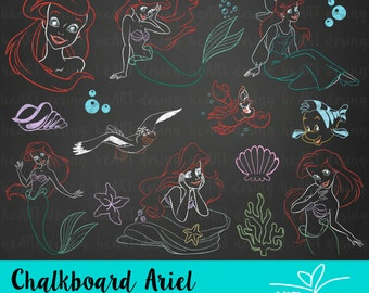 Chalkboard Ariel Clipart / Digital Clip Art for Commercial and Personal Use / INSTANT DOWNLOAD