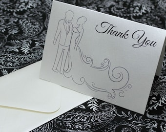 Custom 25pc Wedding Thank You Cards - Bride and Groom - Cream Shimmer Paper