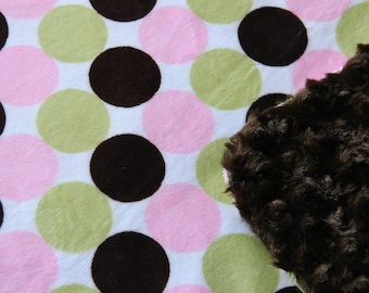 CLEARANCE - Minky Blanket - Pink  Green and Chocolate Large Circle Print Minky with Chocolate Brown Cuddle Minky Backing
