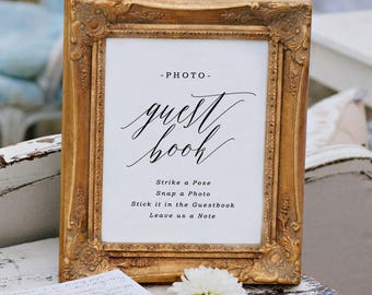 Photo Guest Book Sign, Printable Photo Guest Book, Guest Book Sign, Wedding Signs | Edit in Word or Pages
