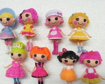 "Mini Lalaloopsy Doll Button Eyes (8 pc Set) 3"" Tall Playhouse Cake Toppers"