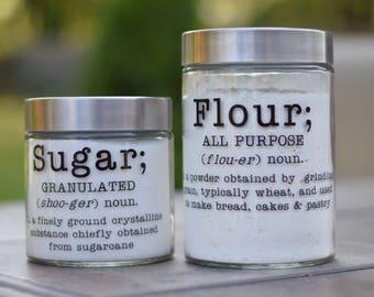 Kitchen canister/jar; sugar, flour