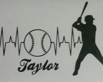 Personalized Heartbeat Baseball Player Decal, Baseball Decal,  Car Window Decal