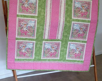 Fairy/ Angel print  cot quilt, Play Mat, Cuddly Quilt, Throw, Wall hanger, Lap Quilt, Baby, Toddler.  *SHIPPING INCLUDED