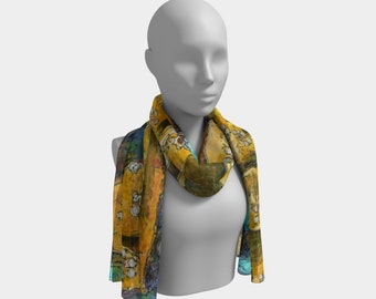 Cats Hanging Out Scarf Long Scarves Printed Cat Scarf Chiffon Scarf Fashion Summer Scarf Delicate Scarf Lightweight Scarf Gift for Her Wife