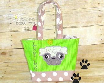 Pug Tote Bag/ Pug Lunch Bag/ Pug kids tote bag/ toddler tote bag/ Personalized tote bag/ Personalized purse