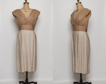 vintage 1950s dress | chiffon top | textured woven skirt