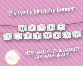 Tea Party Birthday Banner - Personalized Party Banner - Tea Party Birthday Decor - Girls Tea Party Birthday