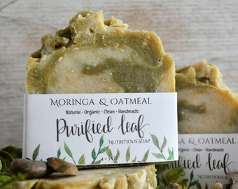 Maringa & Oatmeal, Nutritious Skin Soap, Organic Soap, Homemade Soap, Handmade Soap, Natural Soap, Soap Bar, Essential Oil, Green Tea Soap