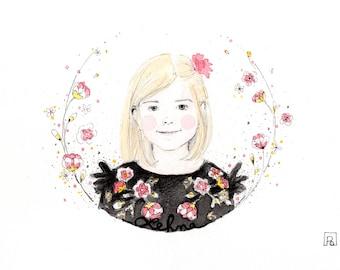 Featuring custom watercolor portrait