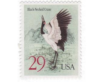 10 Unused Vintage Postage Stamps - 1994 29c Black-Necked Crane - Item No. 2867