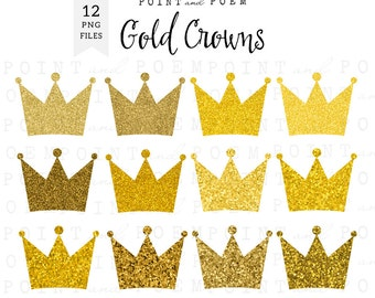 50% OFF SALE Crown Clip Art, gold crowns clipart, sparkly digital crown, princess, party, scrapbooking - Commercial Use