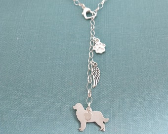 Bernese Mountain Dog Necklace, Lariat TaGette Sterling Silver, Personalize Pendant, Breed Silhouette Charm, Dog Memorial jewelry Rescue