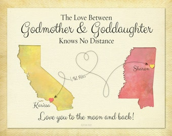 Godmother Gift, Goddaughter Gift, Long Distance Gift, Personalized Gift, Birthday Gift Idea, Long Distance Quote Print,  Moving Away Gift